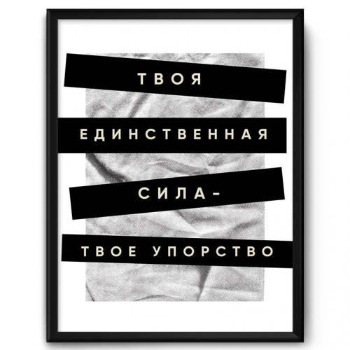 Мотивационный постер в рамке «Твоя единственная сила, твоё упорство!» от 1 460 руб