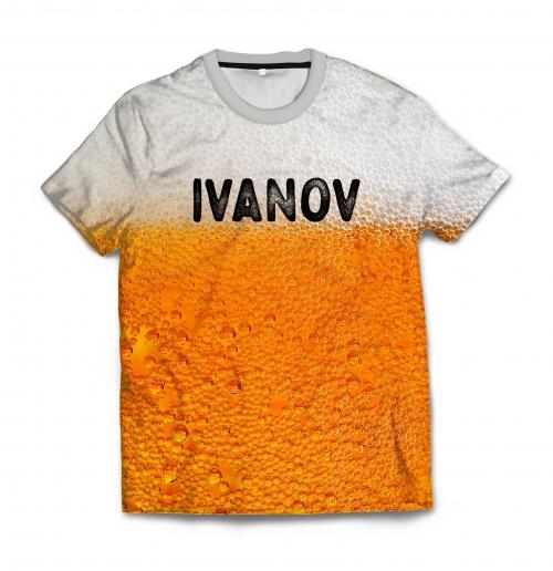 Именная мужская футболка 3D «Пенное» от 1 490 руб